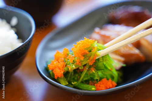 seaweed salad and shrimp roe japanese food Canvas-taulu