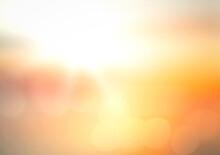 Blur Sun Light With Orange And Yellow Sunset Beach Texture Background