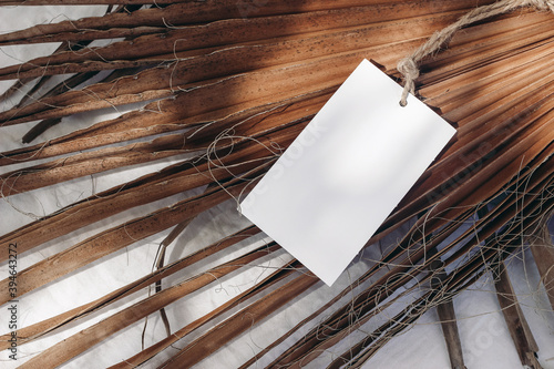Blank gift, product tag mock-up with natural rope on dry palm leaves. Closeup of empty paper label in sunlight with shadows. Tropical still life composition. Branding, summer sale concept. Top view.