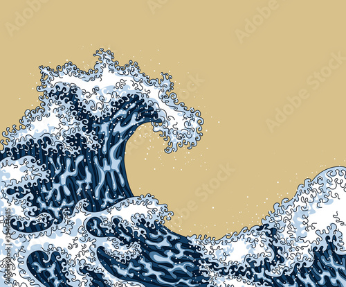 Photo Blue wave Japanese style