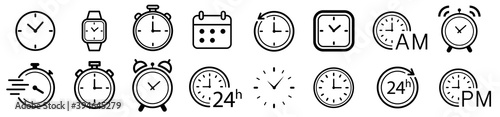 Obraz Vector Time and Clock icons set.Clocks icon collection design. Horizontal set of analog clock icon symbol .Circle arrow icon.Vector illustration. - fototapety do salonu