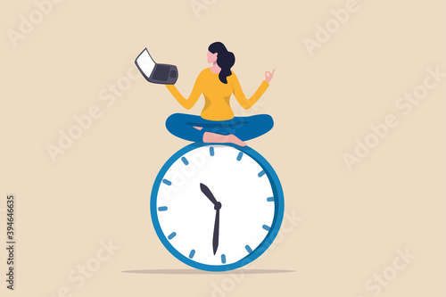 Flexible working hours, work life balance or focus and time management while working from home concept, young lady woman working with laptop while doing yoga or meditation on clock face Fototapete