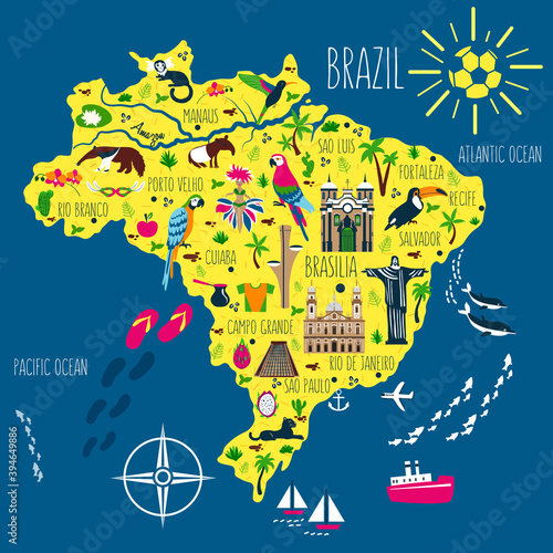 Fototapeta premium Brazil illustrated flat map vector, South America geographic cartoon banner template with landmarks, museum, church, traditional food, Brazilian carnival, animal and flowers, design for travel poster