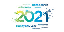 2021 Bonne Année Vert Bleu Lumineux