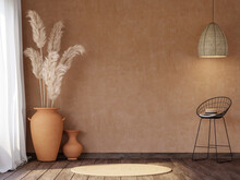 Local Style Empty Room With Blank Orange Wall 3d Render,There Are Old Wood Floor Decorate With Black Metal Chair And Terracotta Jar With Dry Reed Flower.
