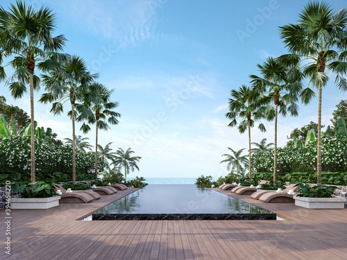 Photo Large swimming pool terrace with sea view 3d render,There has wooden floors,black marble tile,decorated with rattan furniture, surrounded by tropical plant