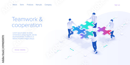 Obraz Teamwork concept vector illustration. Business team matching pieces of puzzle. Cooperation or partnership metaphor. Web banner. - fototapety do salonu