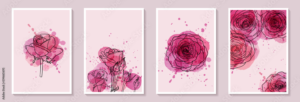 Fototapeta Set of creative minimalist hand draw illustrations floral outline with pink watercolor stain and splash. Design for wall decoration, postcard or brochure cover design