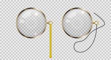Gold Monocle. 3D Vector Illustration