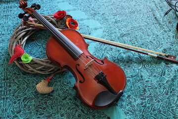 Fototapeta na wymiar violin romantic musical instrument also called fiddle and viola