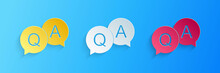 Paper Cut Question And Answer Mark In Speech Bubble Icon Isolated On Blue Background. Q And A Symbol. FAQ Sign. Copy Files, Chat Speech Bubble. Paper Art Style. Vector.