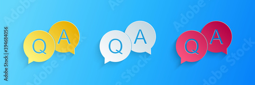 Paper cut Question and Answer mark in speech bubble icon isolated on blue background Wallpaper Mural