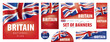 Vector set of banners with the national flag of the United Kingdom