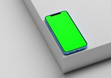Iphone 12 Pro Max 3d Render Realistic Mock Up On White Backgound With Green Screen To Replace With Your Design