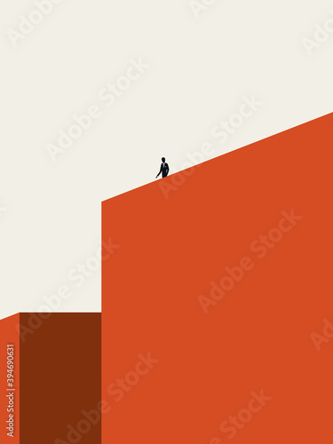 Fototapeta Solitude or loneliness vector illustration concept with man standing on top of building. Minimal abstract art. obraz