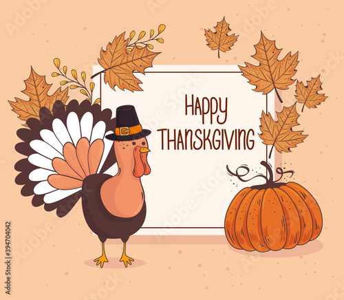 happy thanksgiving celebration lettering card with turkey pumpkin fruit vector illustration design