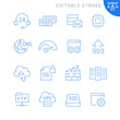Hosting related icons. Editable stroke. Thin vector icon set