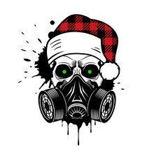 Vector Skull With Buffalo Plaid Santa Hat And Gas Mask. Christmas 2020. Paint Splashes And Drips