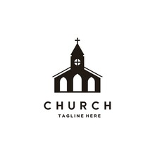 Church Building Architecture Logo Design. Religion, Faith, Belief Icon Or Symbol. Vector Illustration