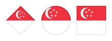 Singapore Flag Icon Set. Isolated On White Background