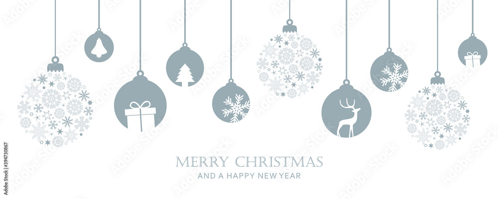 Fototapeta merry christmas card with hanging ball decoratoin vector illustration EPS10