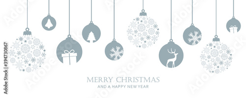 Valokuva merry christmas card with hanging ball decoratoin vector illustration EPS10