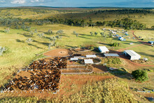 Aerial View Of Farm Homestead And Cattle Yards.