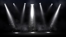 Stage Illuminated By Spotlights. Empty Scene With Spot Of Light On Floor. Vector Realistic Illustration Of Studio, Theater Or Club Interior With Beams Of Lamps, Smoke And Glowing Particles