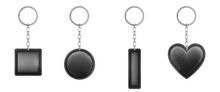 Black Leather Keychain Different Shapes With Metal Chain And Ring. Vector Realistic Set Of Holder Trinket, Fob For Car, Home Or Office Keys Isolated On White Background