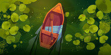 Swamp With Boat And Water Lily Leaves Top View. Vector Cartoon Landscape Of Green Lake Or River Surface With Water Plants And Empty Wooden Rowboat With One Oar
