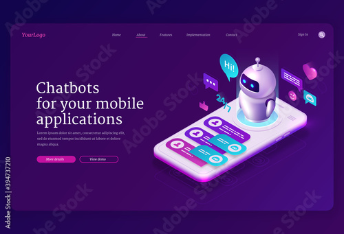 Fototapeta Mobile chatbot app isometric landing page, application for sms messaging, smartphone interface with chat bot messages at screen. Media communication with artificial intelligence 3d vector web banner obraz