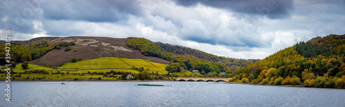 Carta da parati View of Ladybower reservoir in Peak district, an upland area in England at the s