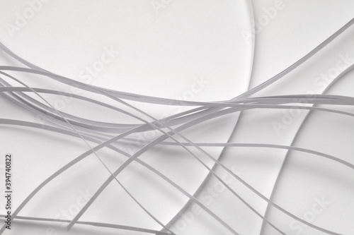 Fotomural Abstract  white color strip wave paper background.