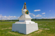White Buddhist Stupa From A Four Noble Truths In Republic Of Tuva.