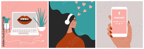 Obraz Podcast concept set. Mouth speaking from a screen on a laptop. Young beautiful girl enjoying audio in headphones. Hand holding a smartphone with a media application. Flat vector in trendy style - fototapety do salonu