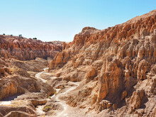 The Trail Through The Eroded Landscape Of Catheral Gorge, Nevada
