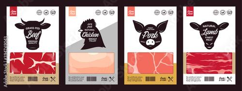 Fotografie, Obraz Vector butchery labels with farm animal faces