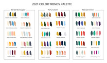 2021 Color Trends Palette On Brush Strokes. Vector Stok Illustration Isolated On White Background.