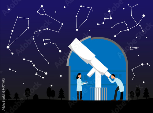 Vector illustration with observatory, night sky and constellations Fototapet
