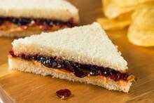 Homemade Crustless Peanut Butter And Jelly Sandwich