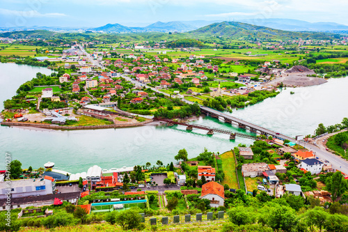 Fototapeta Shkoder town aerial panoramic view, Albania obraz na płótnie