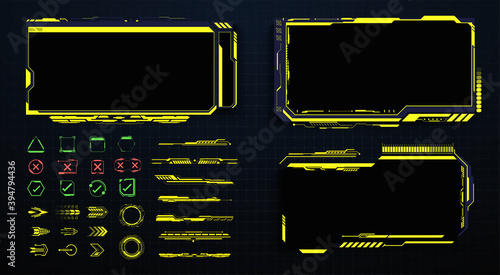 Fototapeta Screens HUD, UI, GUI futuristic interface. Callouts titles. Head up screens for video games, apps, movie. frame in Sci- Fi style. Bar labels, info call box bars. Futuristic info boxes layout templates obraz