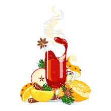 Mulled Wine Or Hot Christmas Punch Isolated On White. Oranges, Apple, Cinnamon, Anise Stars, Spiced Drink For Winter Holidays. Vector Illustration