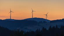 Three Wind Turbines In The Mou...