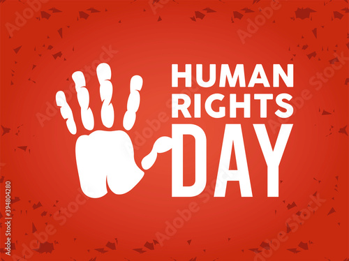 Obraz human rights day poster with hand print - fototapety do salonu