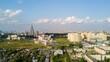 sunny day moscow cityscape living block lomonosov university aerial panorama 4k timelapse russia