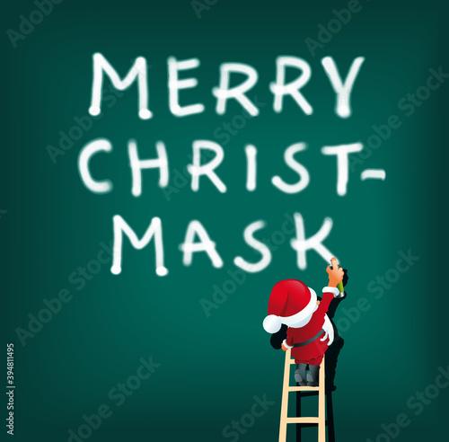 Grafik Weihnachtsmann mit Merry Christmask