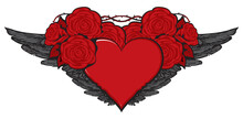 Flying Heart. Vector Graphic Illustration Of A Red Heart With Black Wings And Red Roses Isolated On A Light Background. Suitable For Valentine Card, Sticker, T-shirt Design, Tattoo, Design Element