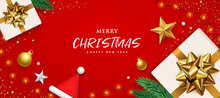 Merry Christmas White Gift Box Gold Bow Ribbon Banners Design On Red Background, Eps 10 Vector Illustration