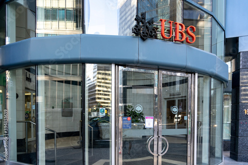 Fototapeta premium Toronto, Canada-November 9, 2020: The entrance to UBS Bank Canada in Downtown Toronto, Canada. UBS Group AG is a Swiss multinational investment bank and financial services company.